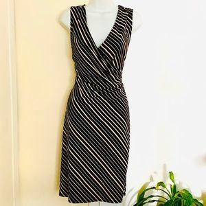 Express Shirred Faux Wrap Striped Dress, Size 14